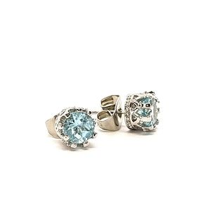 ♠+Genuine Blue Topaz Crown Stud Earrings